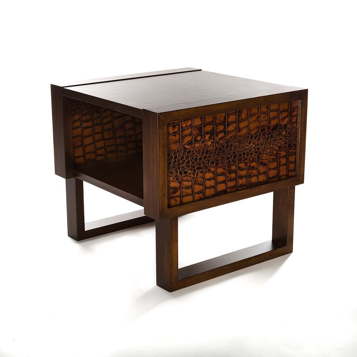 End Table Side Accent Leather Crocodile Twist Modern
