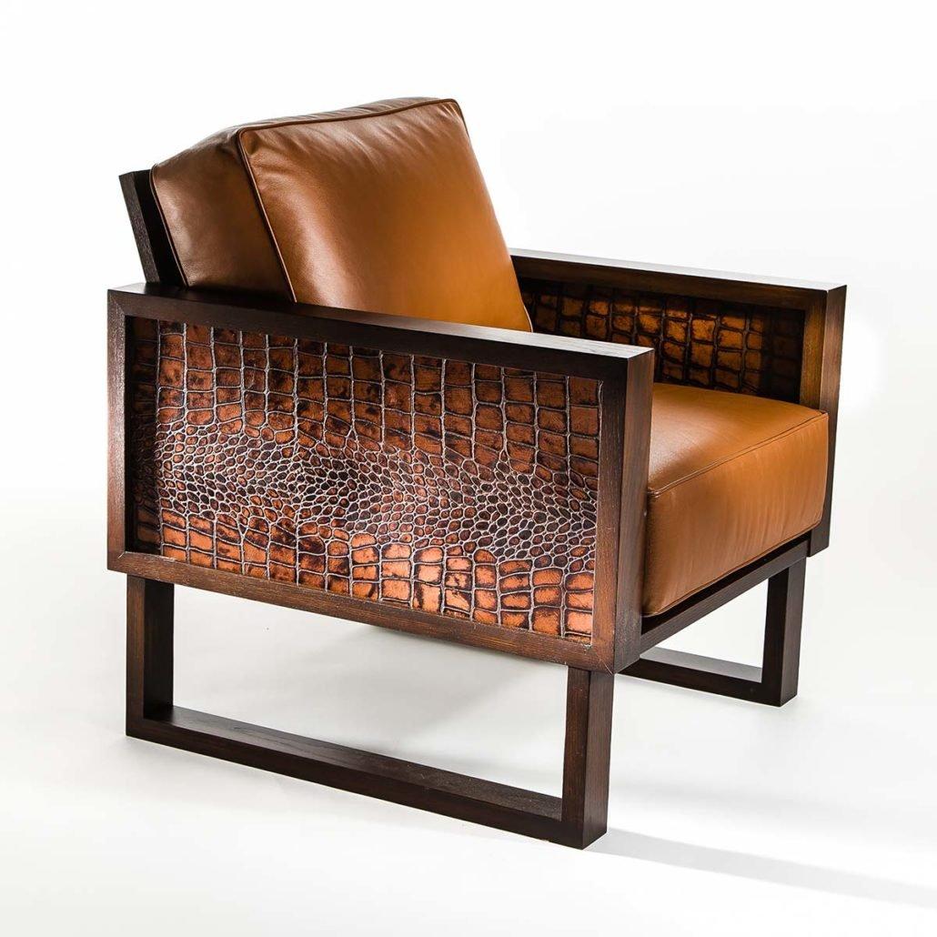 ... Modern Leather Lounge Chair Crocodile Custom Twist Modern ...