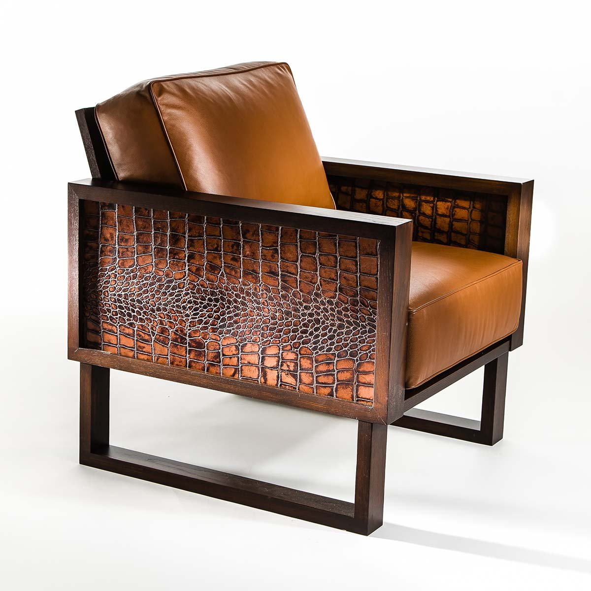 Elegant Modern Leather Lounge Chair Crocodile Custom Twist Modern