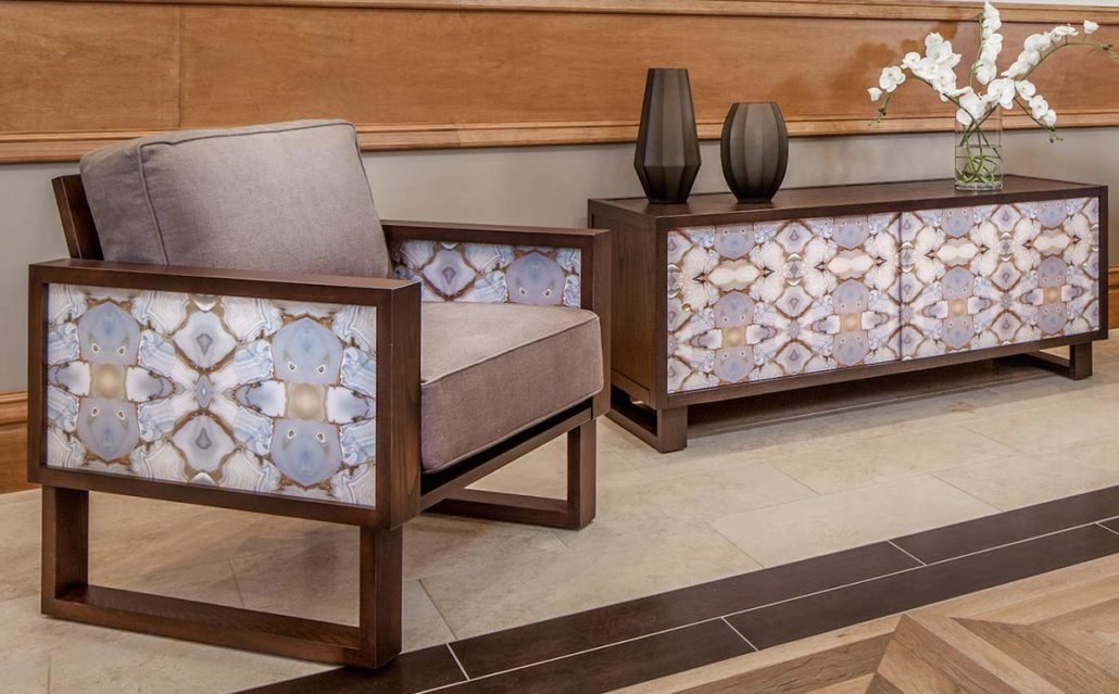 Custom Wallpaper Lounge Chair And Credenza Or Media Console In Living Room.