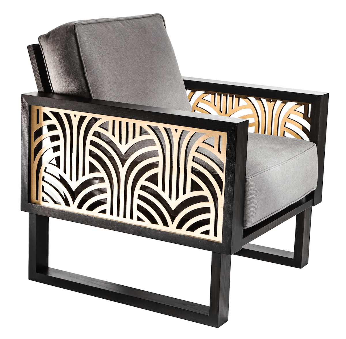 An Art Deco Lounge Chair Gray Twist Modern