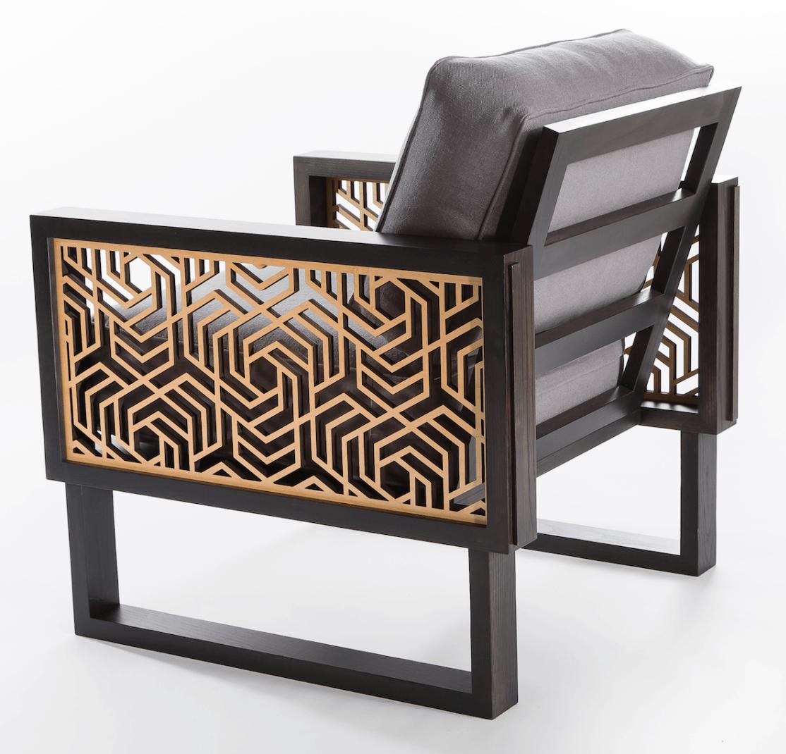Hexagon Lounge Chair Gray Natural Twist Modern