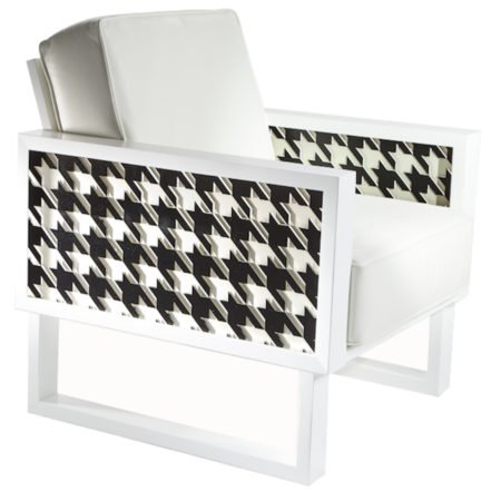 Houndstooth Lounge Chair - White/Acrylic
