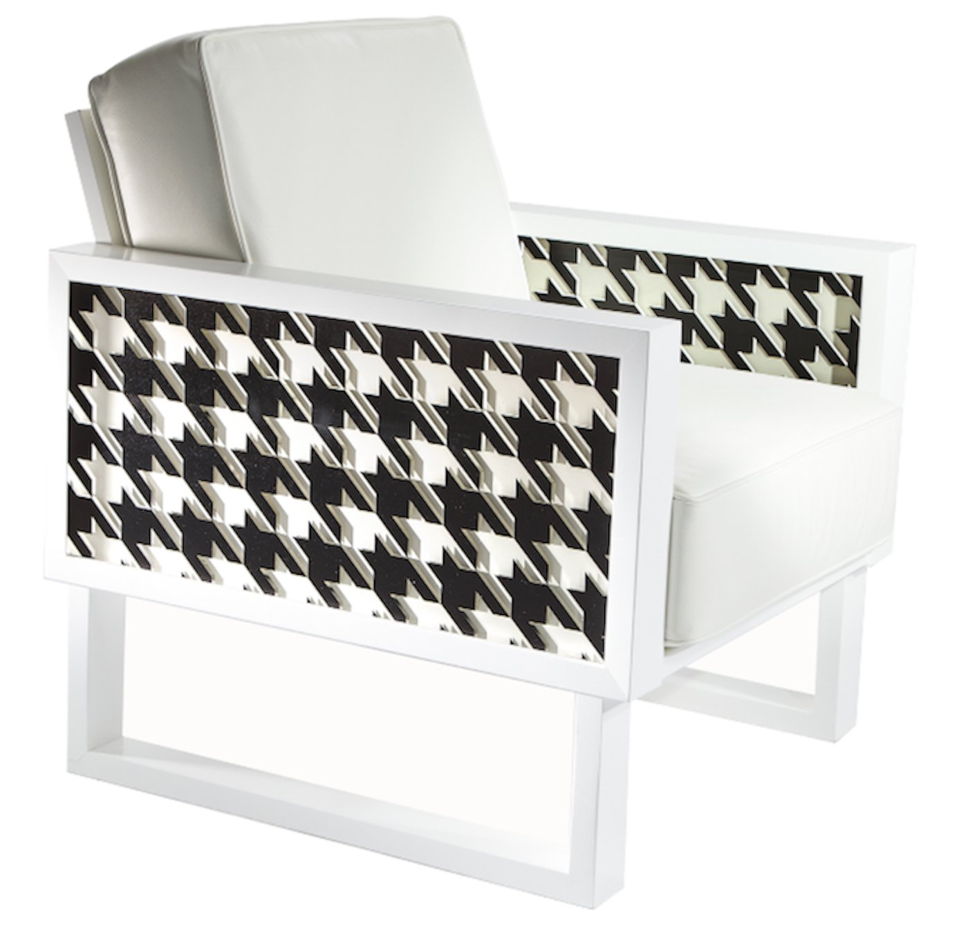 Groovy Houndstooth Lounge Chair White Acrylic Forskolin Free Trial Chair Design Images Forskolin Free Trialorg