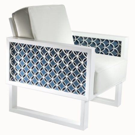 Blue Circles Leather Lounge Chair - Acrylic