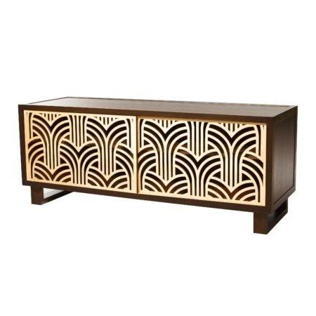 art deco credenza media console espresso natural twist. Black Bedroom Furniture Sets. Home Design Ideas