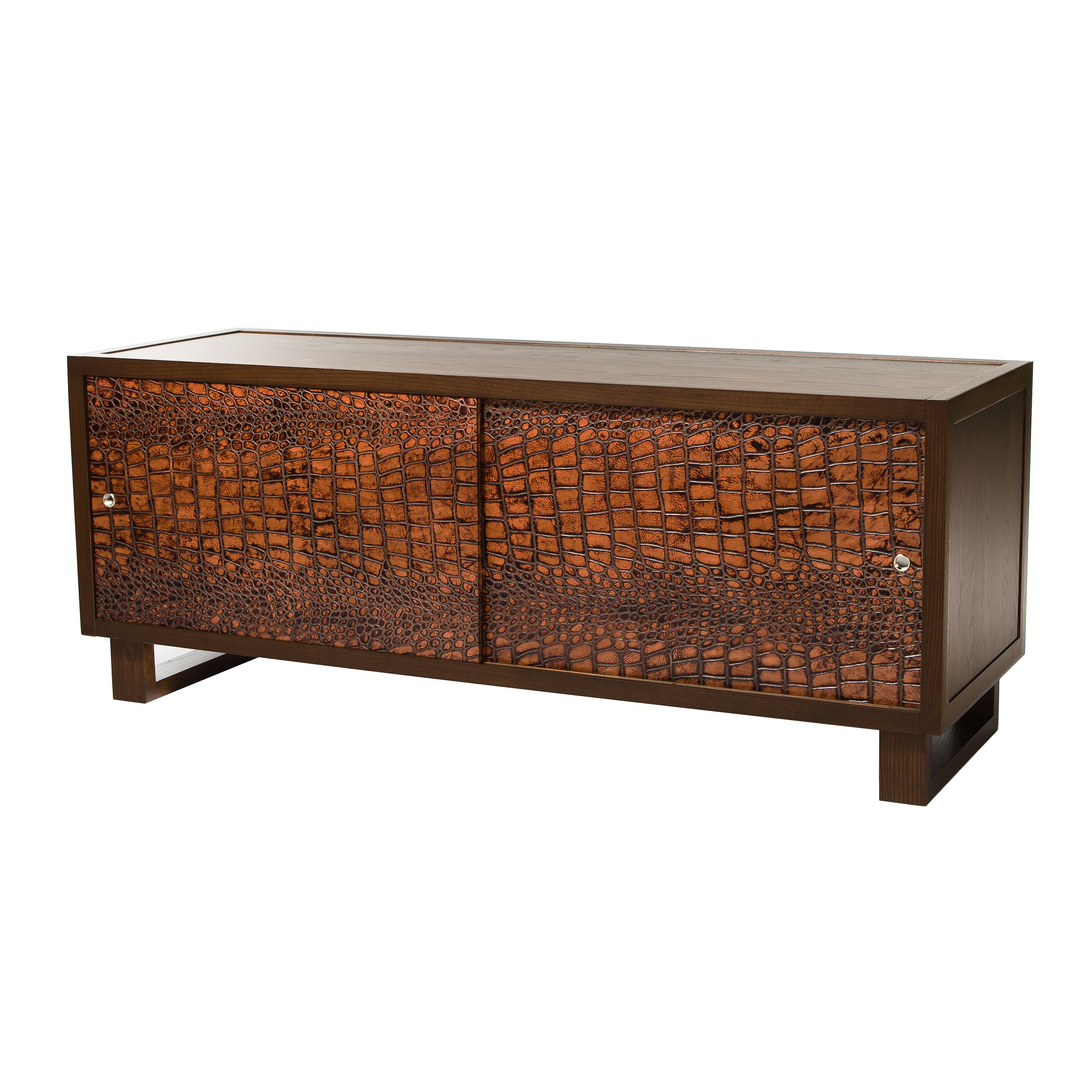 Leather Croc Credenza Media Console Espresso Embossed