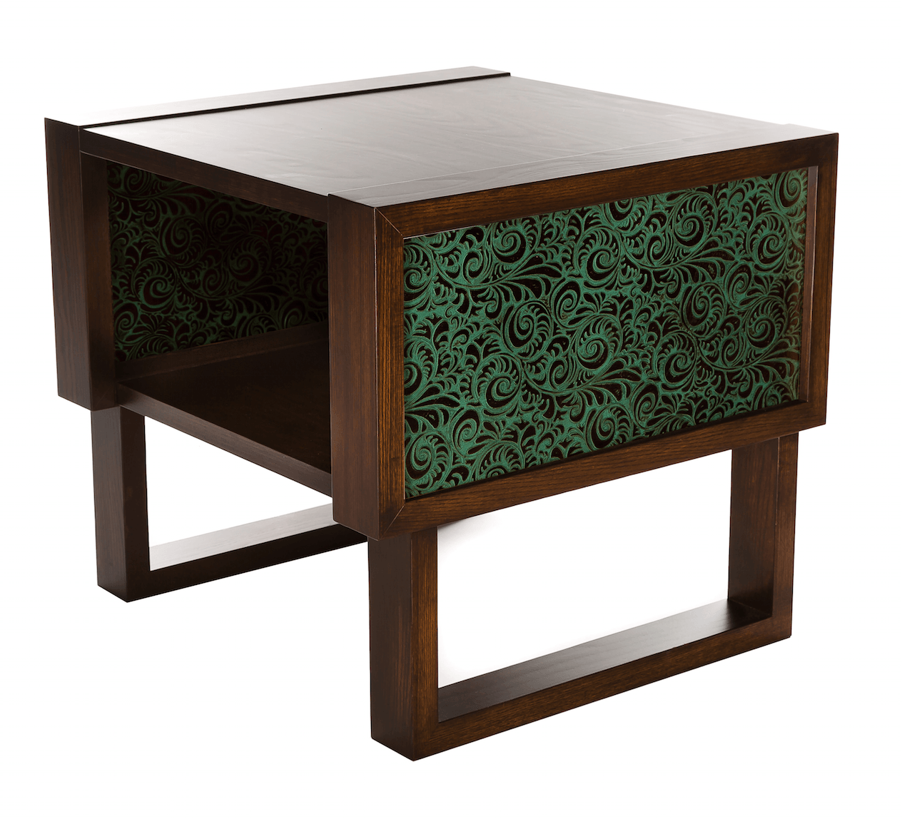 Florence Embossed Leather Accent Table Twist Modern