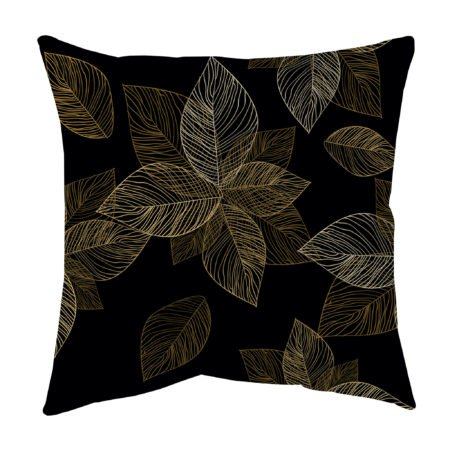 Gold and brown leaf skeleton throw pillow
