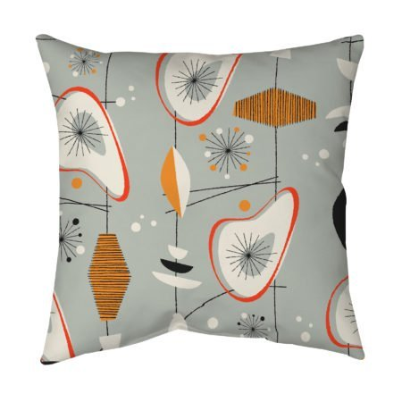 Gray Mid Century Modern throw pillow, accent pillow
