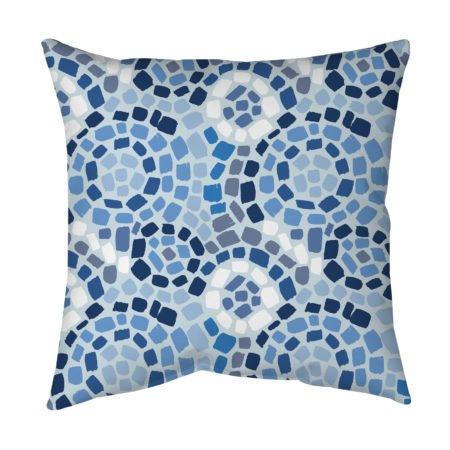 blue mosaic accent pillow