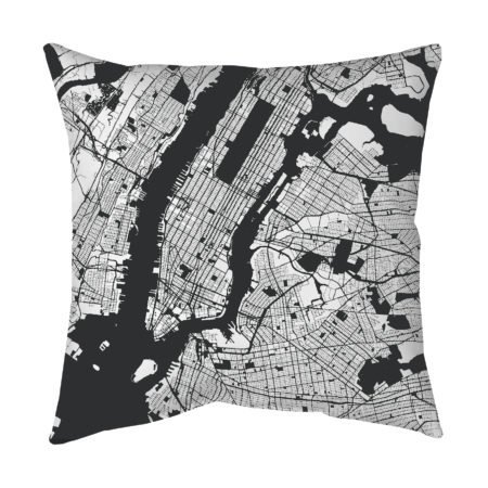New York Black and White Street Map Throw Pillow