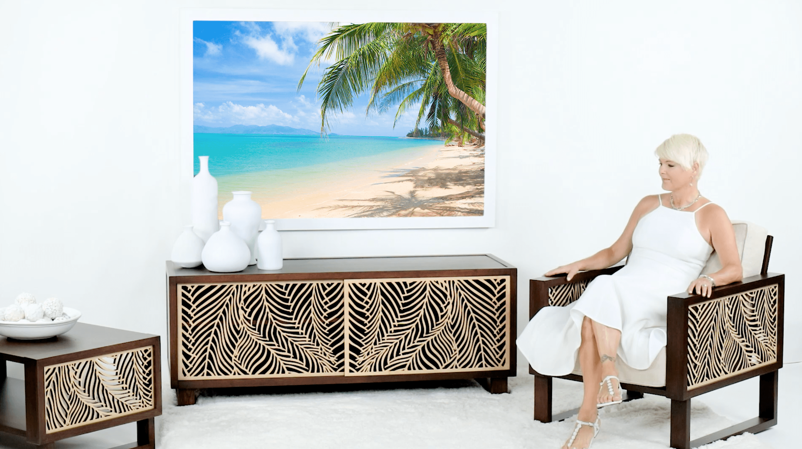 Modern arm chair, media console and accent tables for the living room