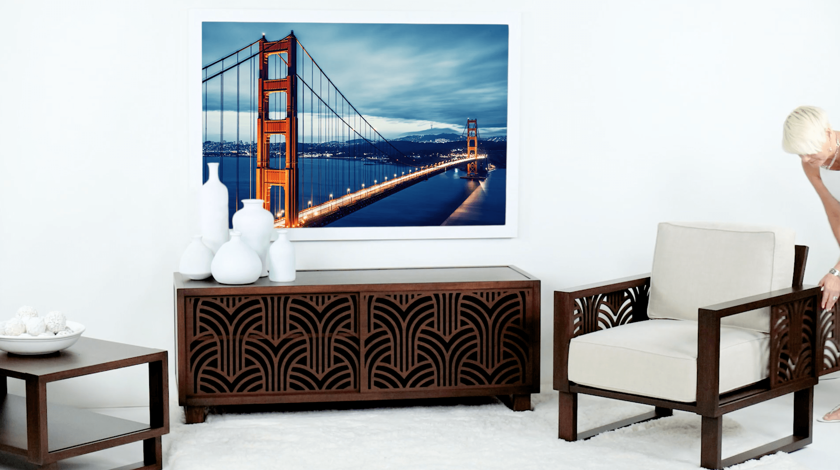 Art Deco armchair, credenza and accent table for the living room