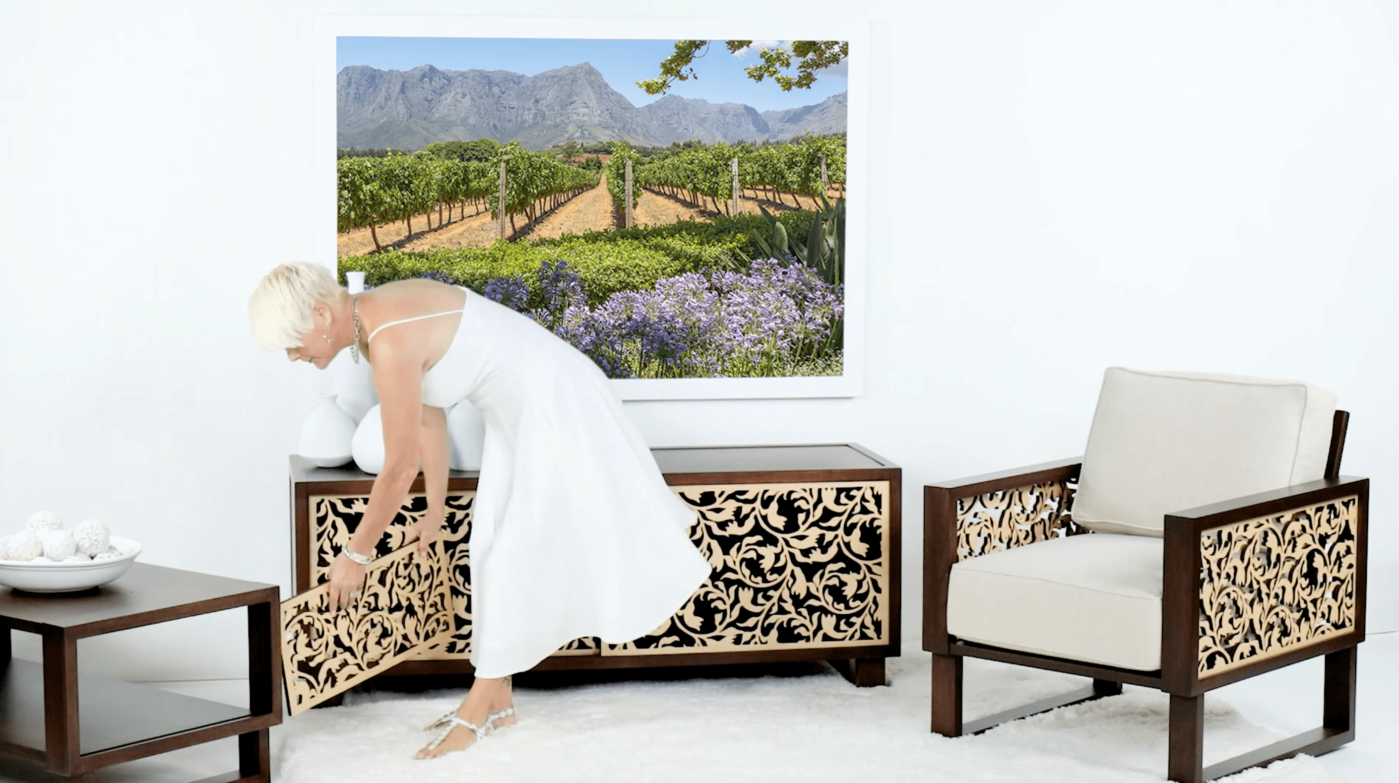 Custom lounge chair, TV stand and accent tables for the living room