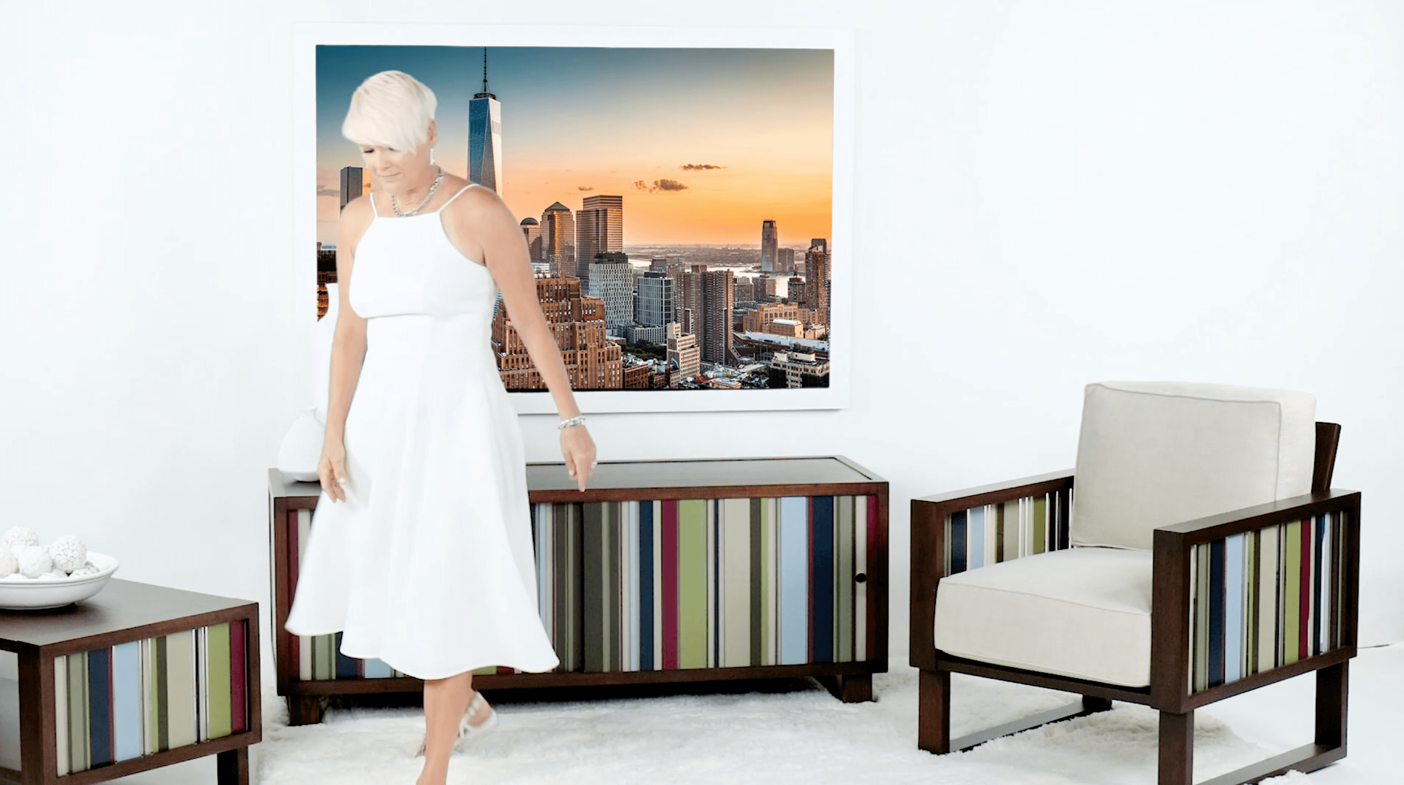 Mid Century Modern armchair, credenza and accent tables for the living room