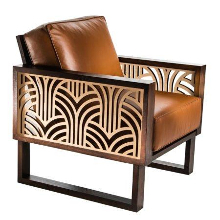 Modern Art Deco Leather Lounge Chair