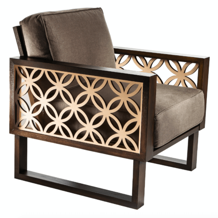 Brown circle arm chair for living room
