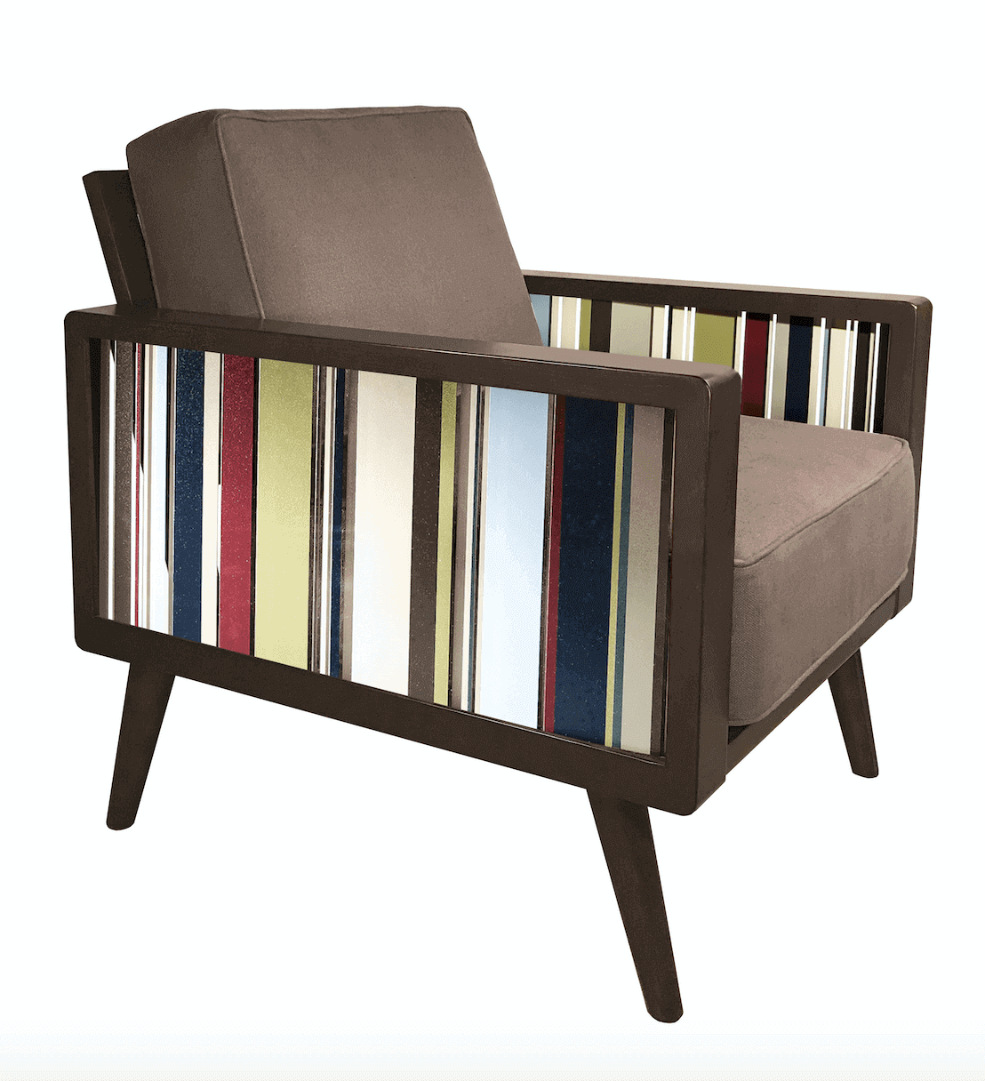 Brown Color Bars Mid Century Modern Armchair For Living Room