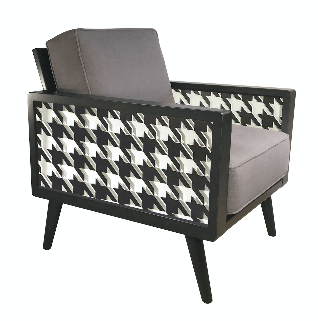 Enjoyable Houndstooth Mid Century Modern Lounge Chair1 Inzonedesignstudio Interior Chair Design Inzonedesignstudiocom