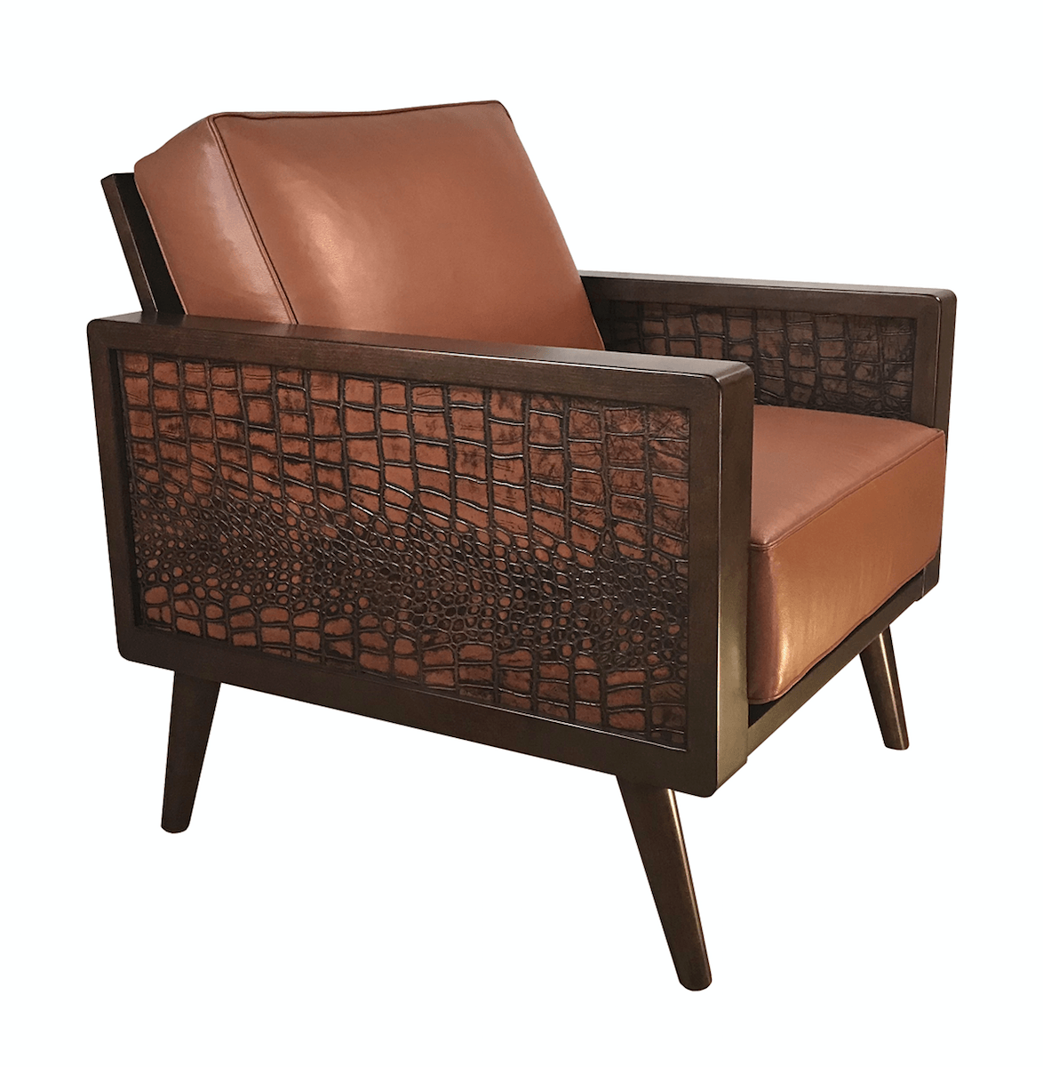 Magnificent Leather Croc Mid Century Modern Lounge Chair Short Links Chair Design For Home Short Linksinfo