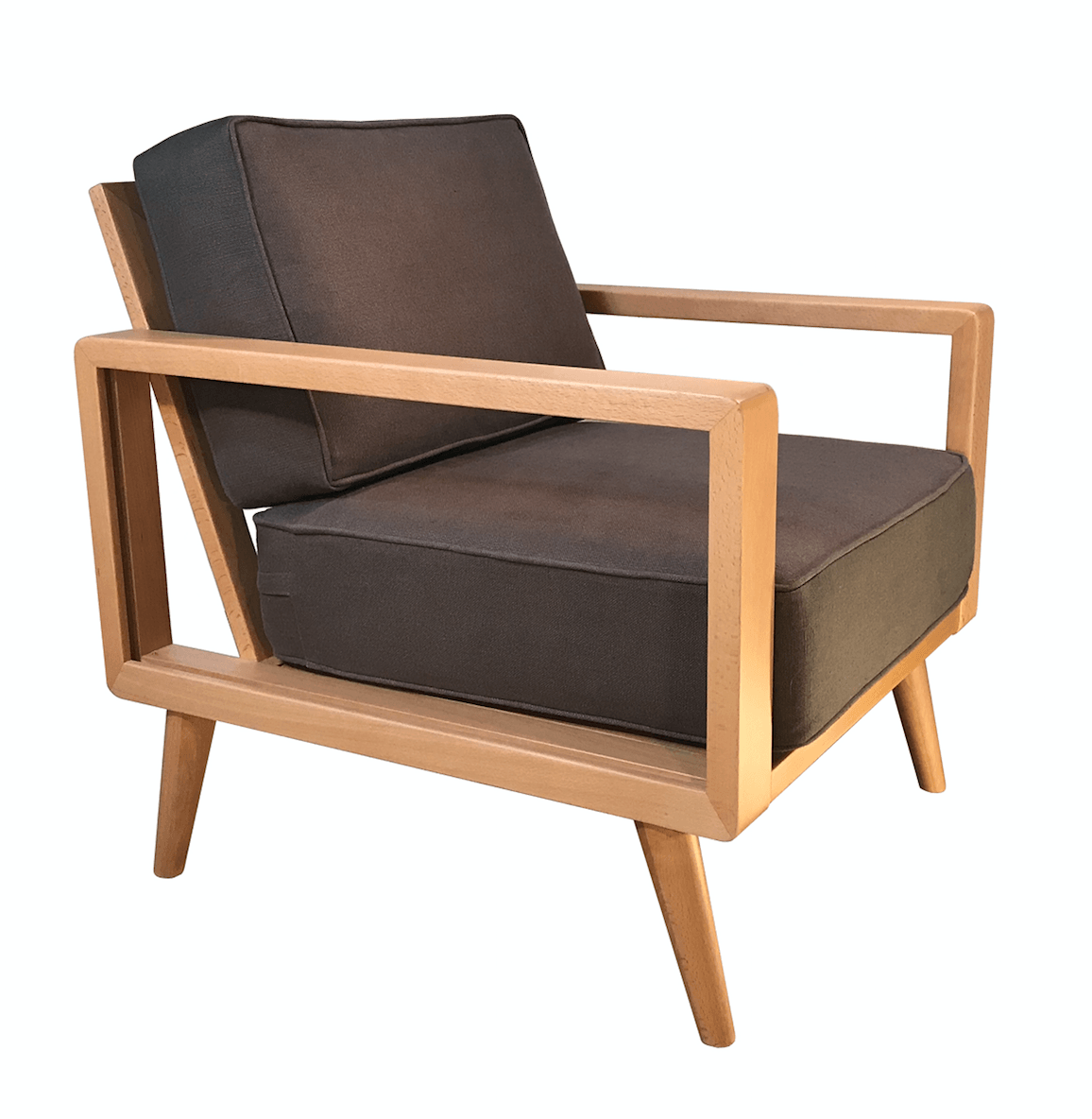 A Natural Mid Century Modern Lounge Chair, Taupe