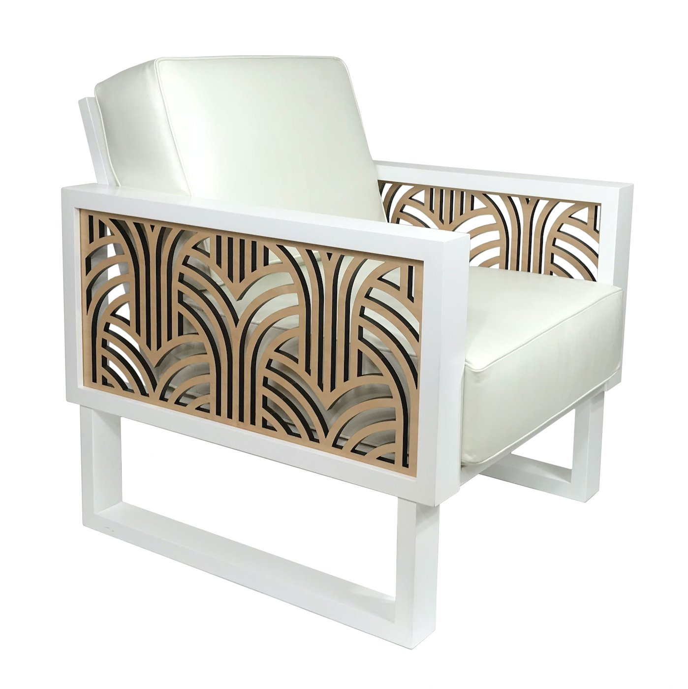 Terrific Art Deco White Leather Lounge Chair Spiritservingveterans Wood Chair Design Ideas Spiritservingveteransorg