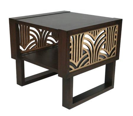 Art Deco Side Table Espresso Natural Twist Modern